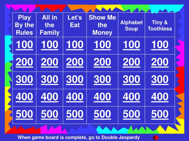 When game board is complete, go to Double Jeopardy