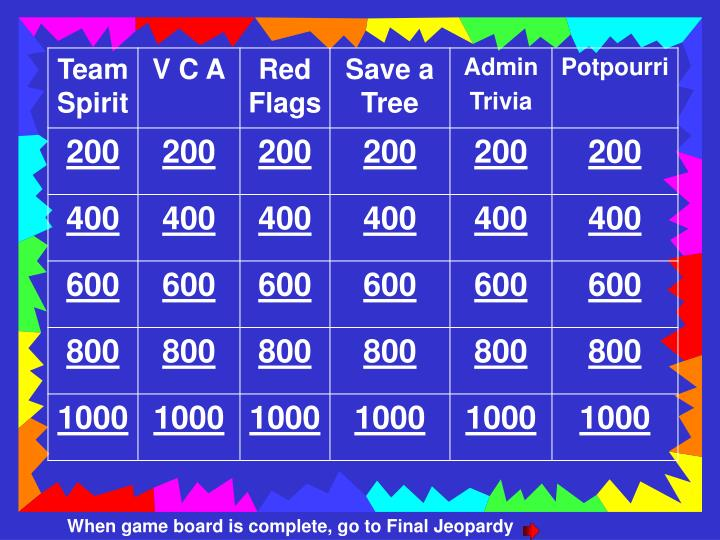 When game board is complete, go to Final Jeopardy
