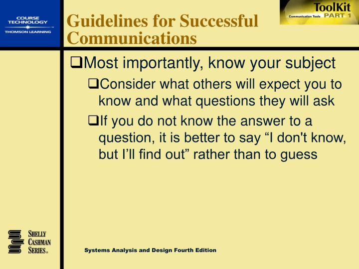 Guidelines for Successful Communications
