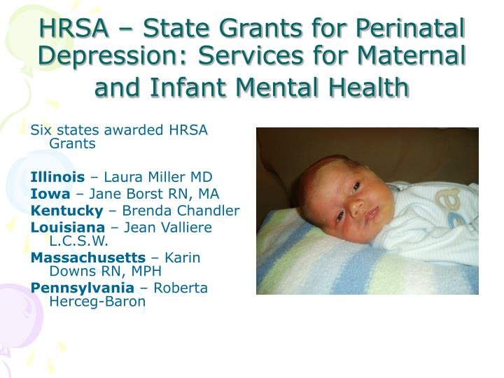 Hrsa state grants for perinatal depression services for maternal and infant mental health