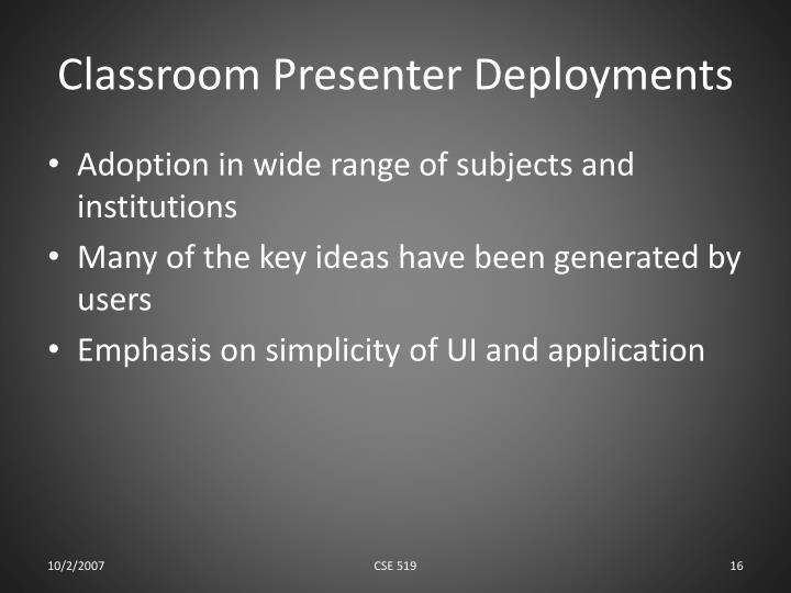 Classroom Presenter Deployments