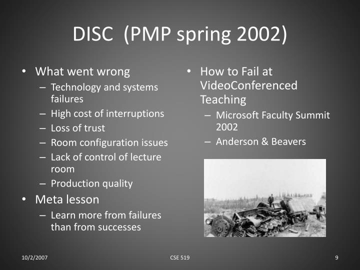 DISC  (PMP spring 2002)