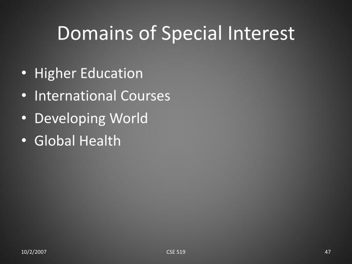 Domains of Special Interest