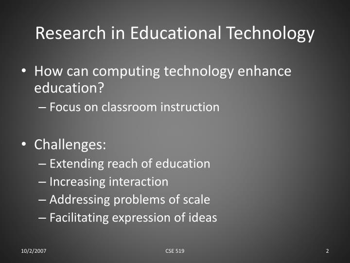 Research in educational technology