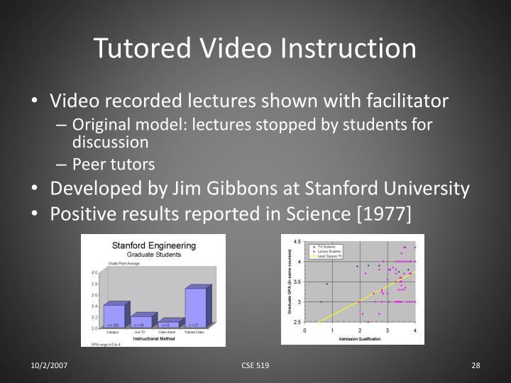 Tutored Video Instruction
