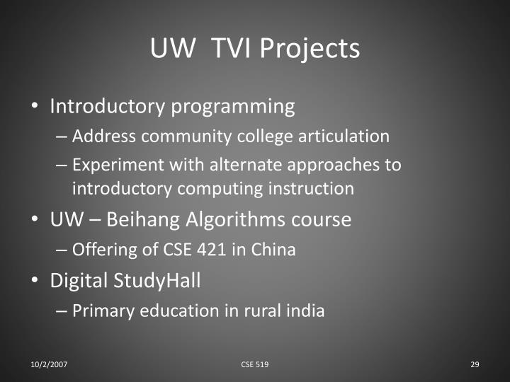 UW  TVI Projects