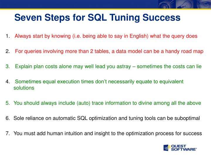 Seven Steps for SQL Tuning Success