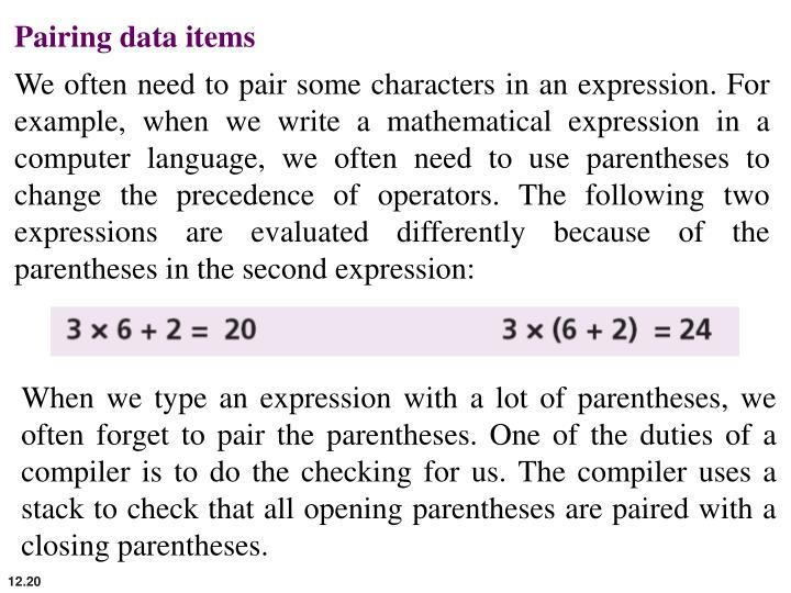 Pairing data items