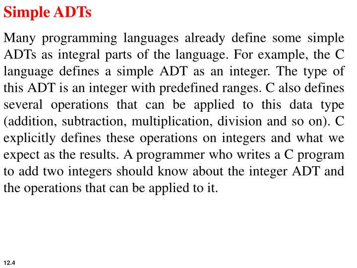 Simple ADTs