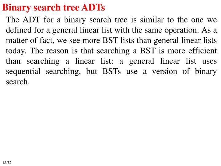 Binary search tree ADTs