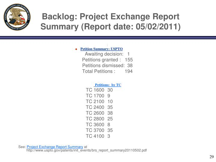 Backlog: Project Exchange Report Summary (Report date: 05/02/2011)