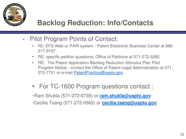 Backlog Reduction: Info/Contacts