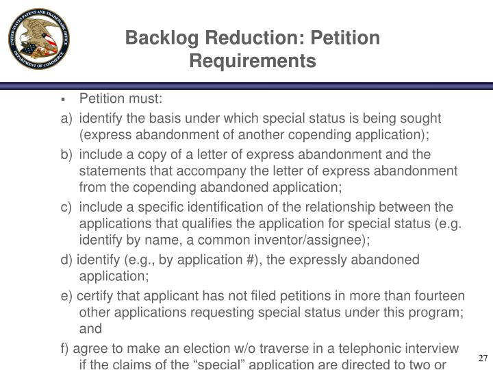 Backlog Reduction: Petition Requirements