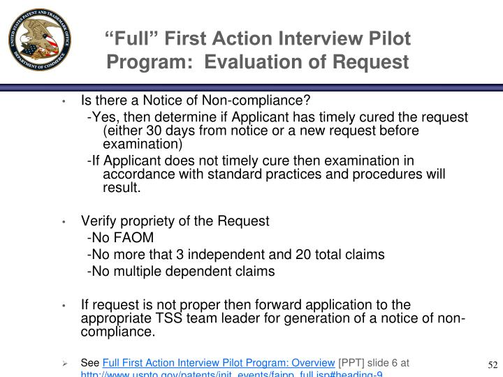 """Full"" First Action Interview Pilot Program:  Evaluation of Request"