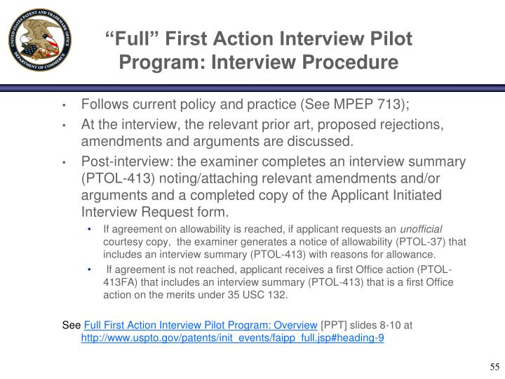"""Full"" First Action Interview Pilot Program: Interview Procedure"