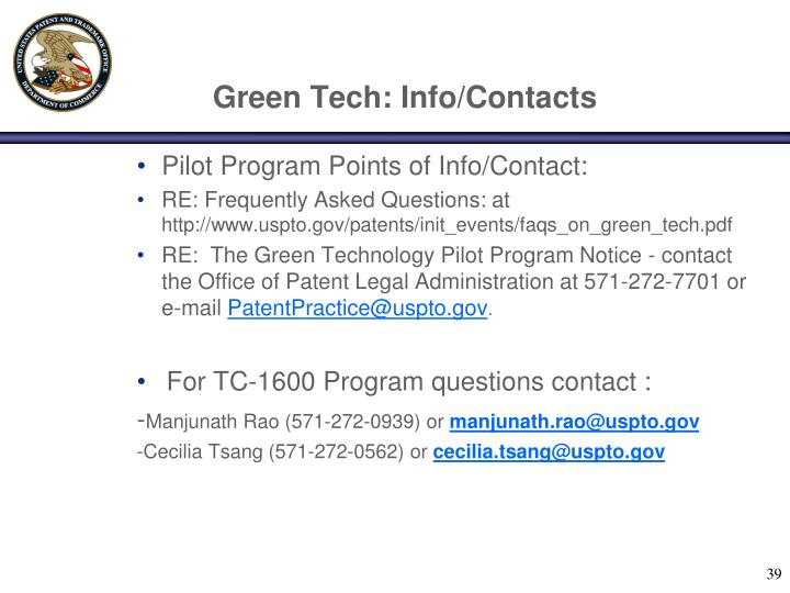 Green Tech: Info/Contacts