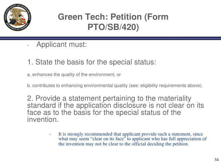 Green Tech: Petition (Form PTO/SB/420)