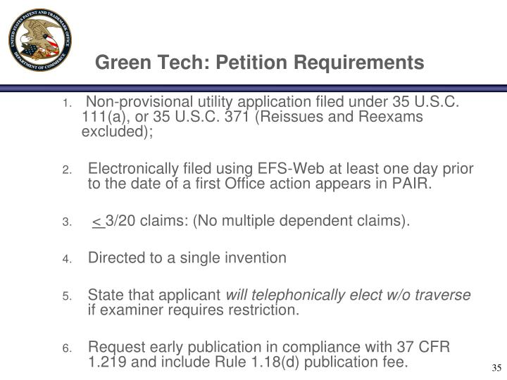 Green Tech: Petition Requirements