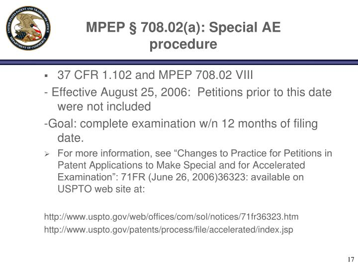 MPEP § 708.02(a): Special AE procedure