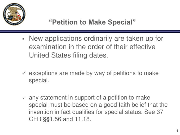 """Petition to Make Special"""