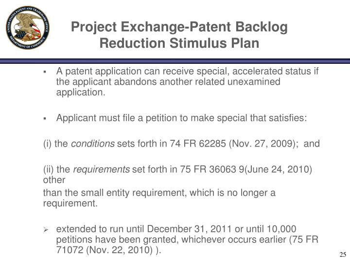 Project Exchange-Patent Backlog Reduction Stimulus Plan