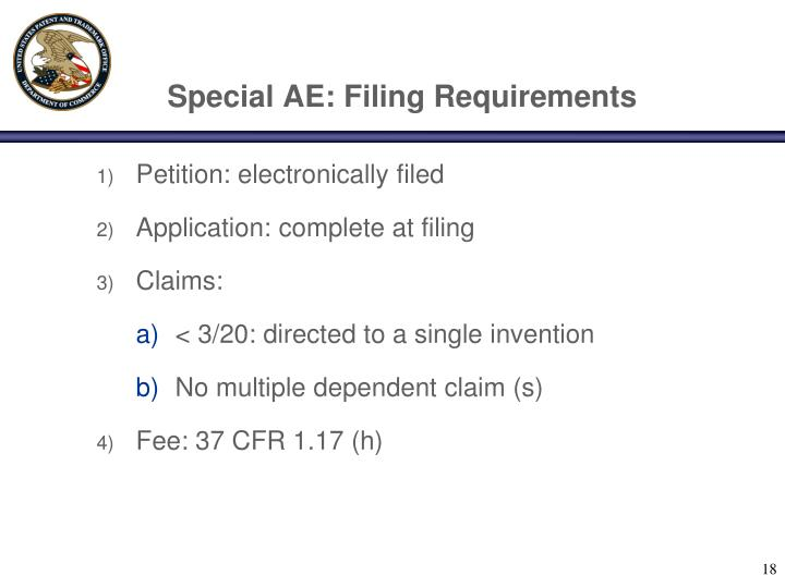 Special AE: Filing Requirements