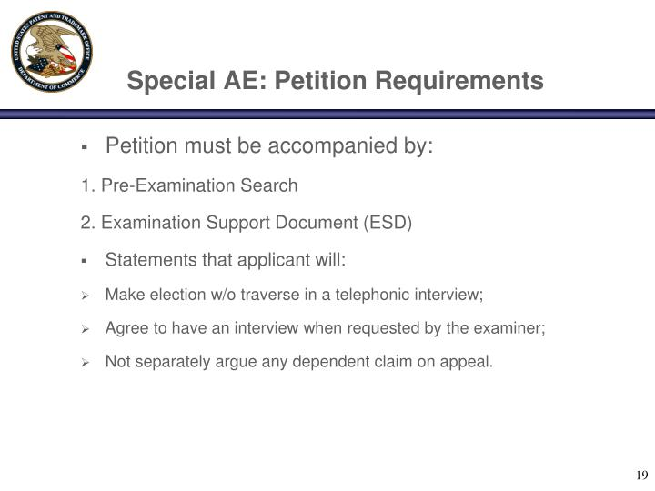 Special AE: Petition Requirements
