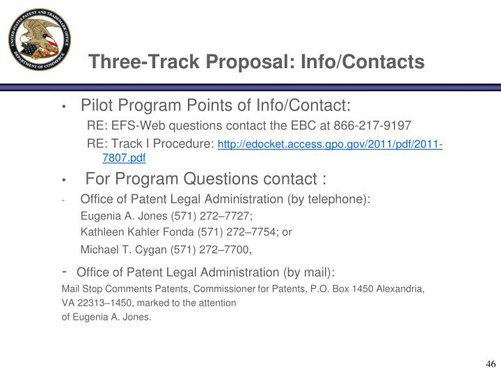 Three-Track Proposal: Info/Contacts