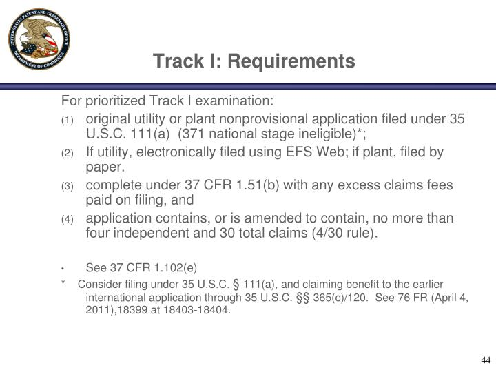 Track I: Requirements