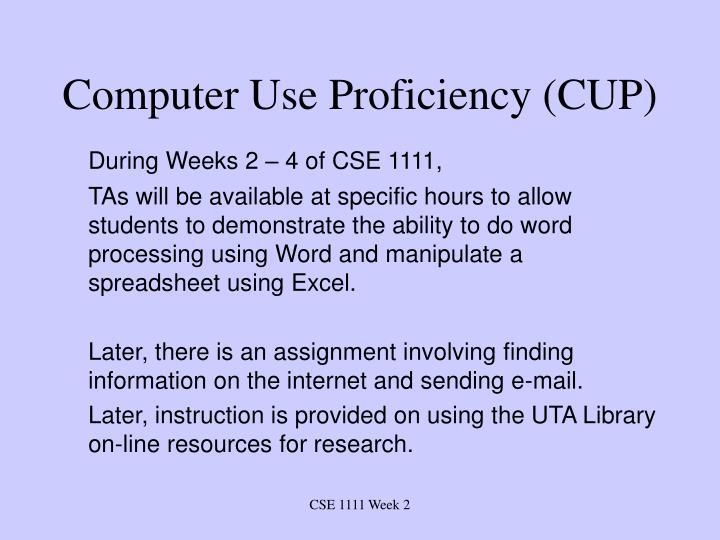 Computer use proficiency cup