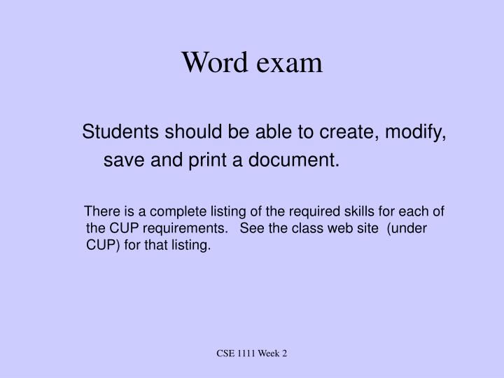 Word exam