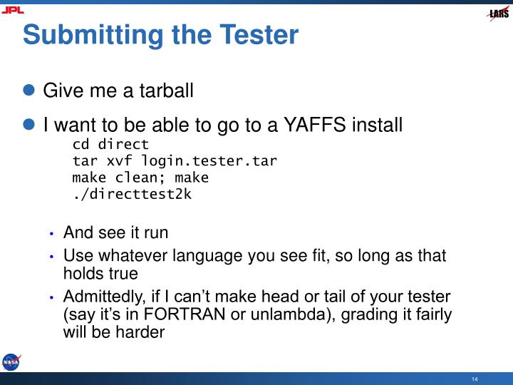 Submitting the Tester