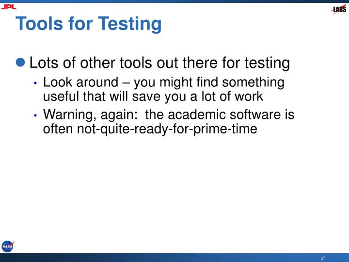 Tools for Testing