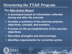structuring the tt e program13