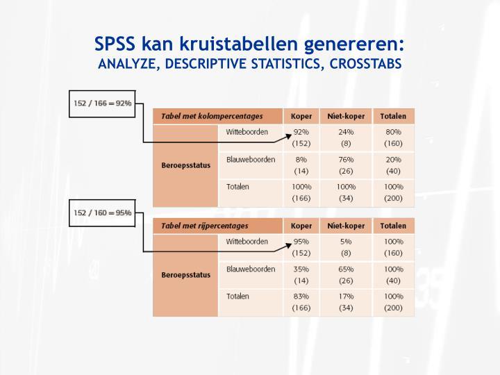 SPSS kan kruistabellen genereren:
