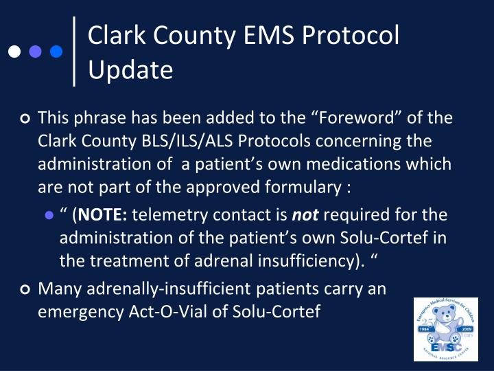 Clark County EMS Protocol Update