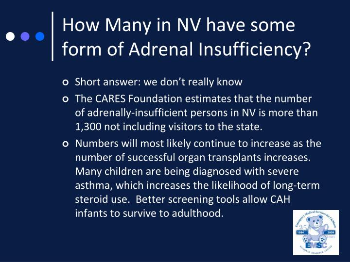 How Many in NV have some form of Adrenal Insufficiency?