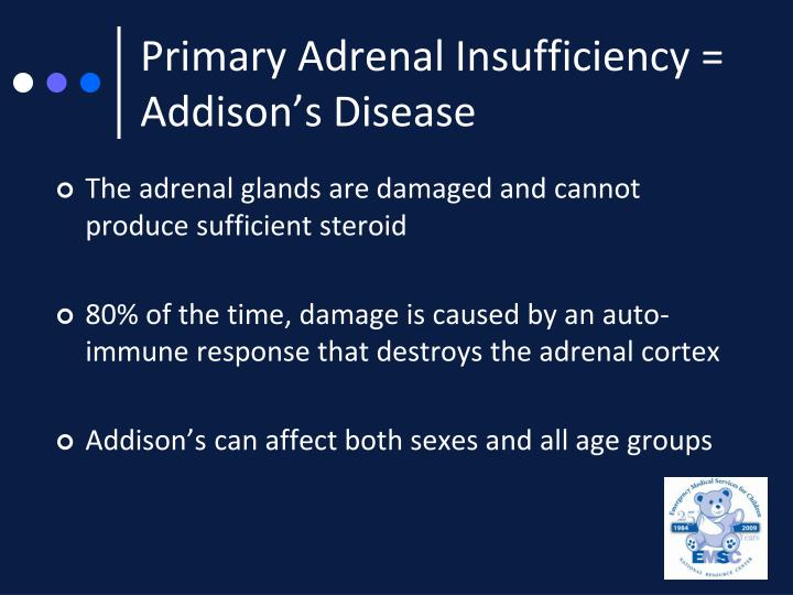 Primary Adrenal Insufficiency = Addison's Disease