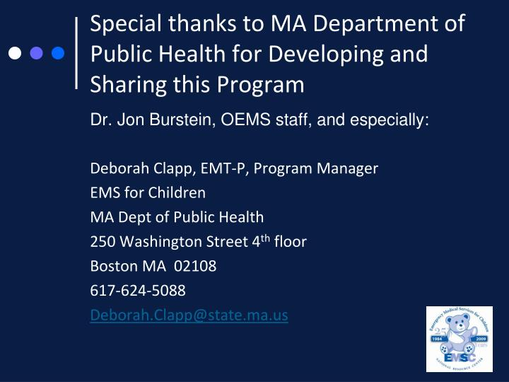 Special thanks to MA Department of Public Health for Developing and Sharing this Program