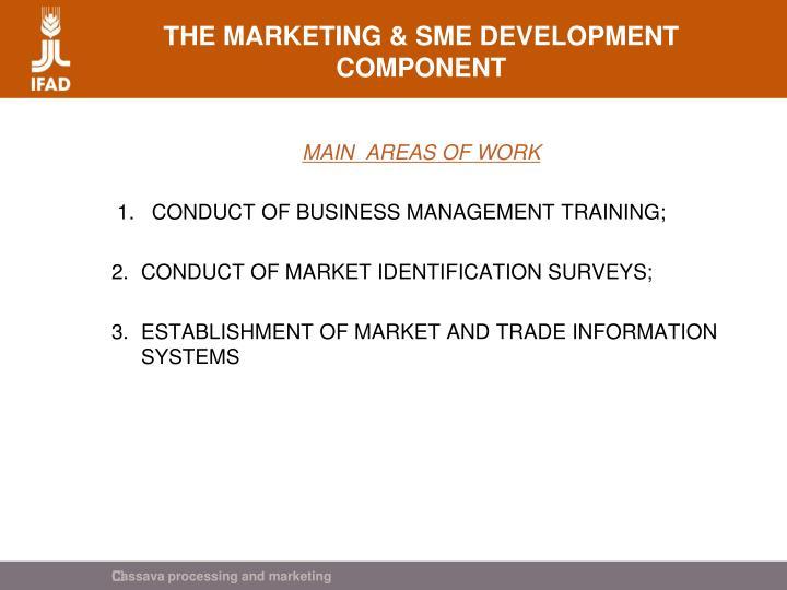 THE MARKETING & SME DEVELOPMENT COMPONENT
