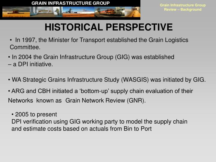 Grain infrastructure group review background