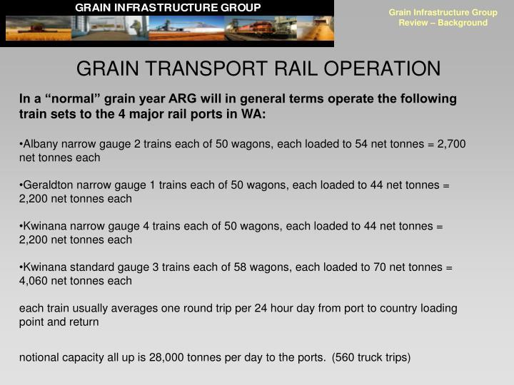 GRAIN TRANSPORT RAIL OPERATION