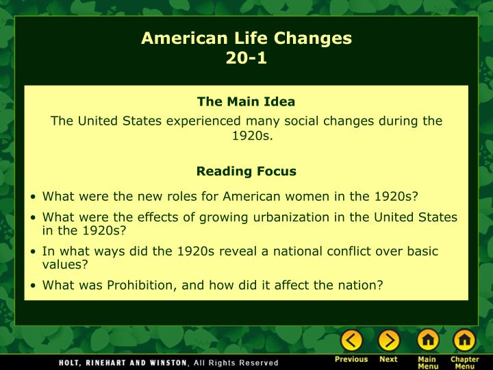 American life changes 20 1