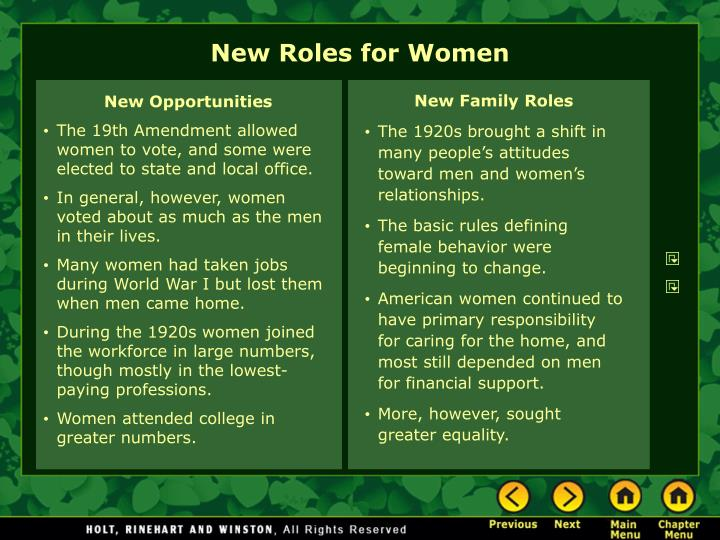 New roles for women