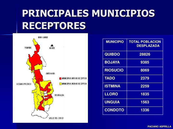 PRINCIPALES MUNICIPIOS RECEPTORES