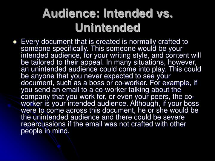Audience: Intended vs. Unintended