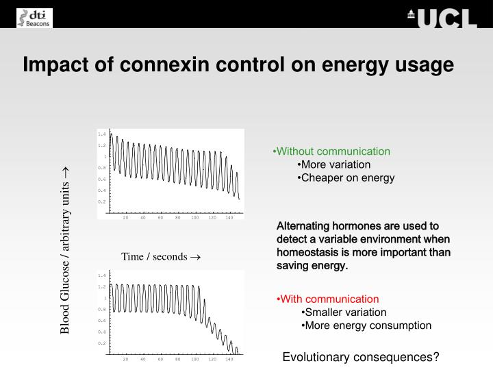 Impact of connexin control on energy usage