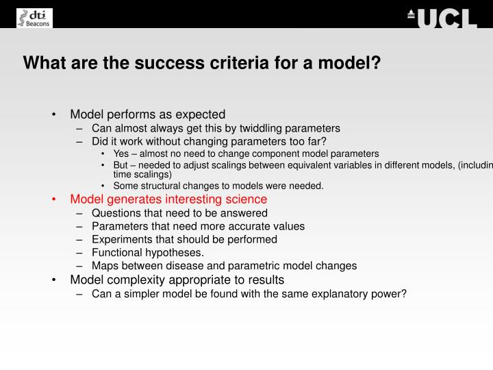 What are the success criteria for a model?