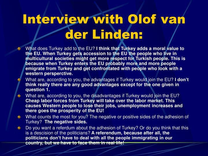 Interview with olof van der linden