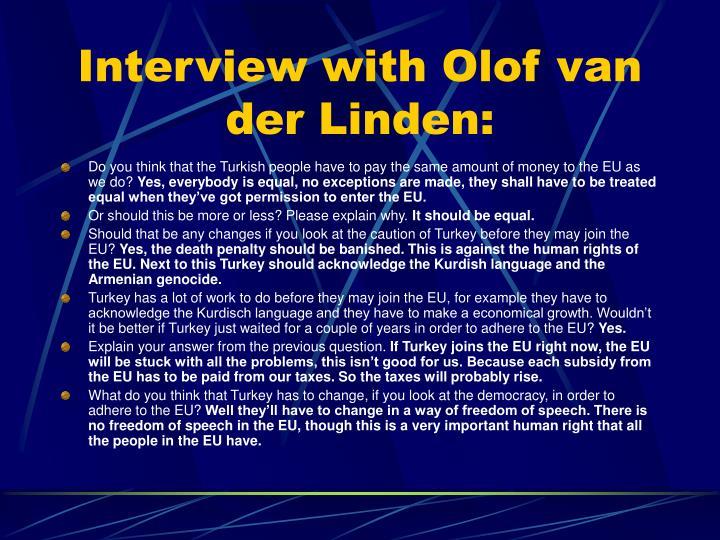 Interview with Olof van der Linden: